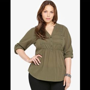 Torrid Olive Military Button Tab Sleeve V Neck Top